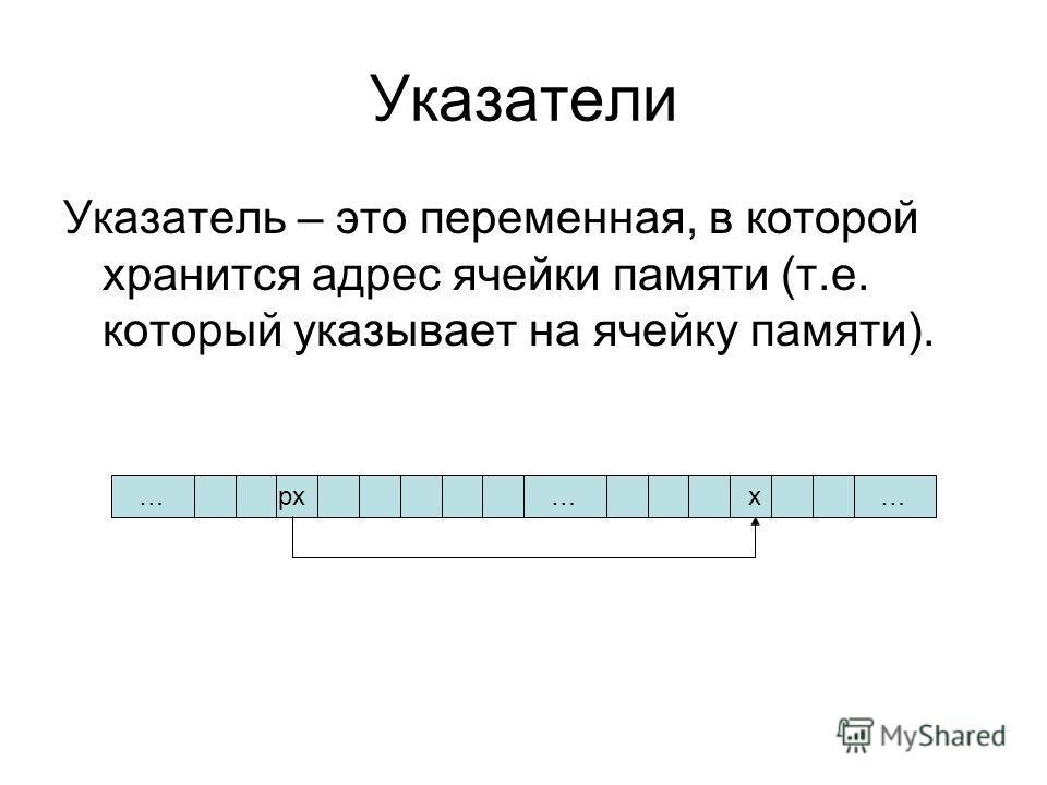 Указатель – это переменная, в которой хранится адрес ячейки памяти (т.е. который указывает на ячейку памяти). ………xpx