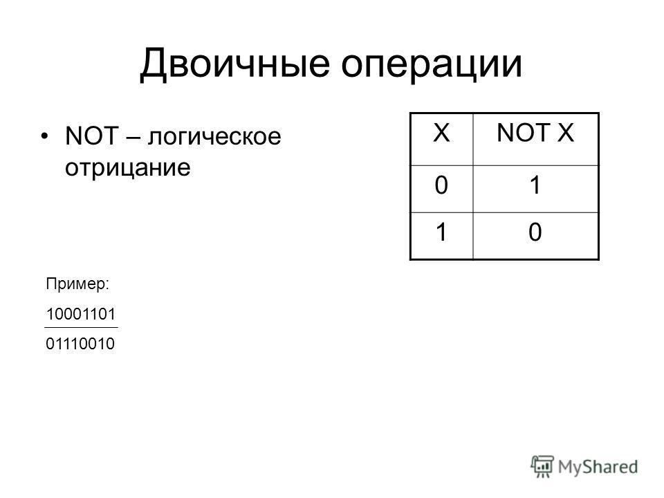 Двоичные операции NOT – логическое отрицание XNOT X 01 10 Пример: 10001101 01110010