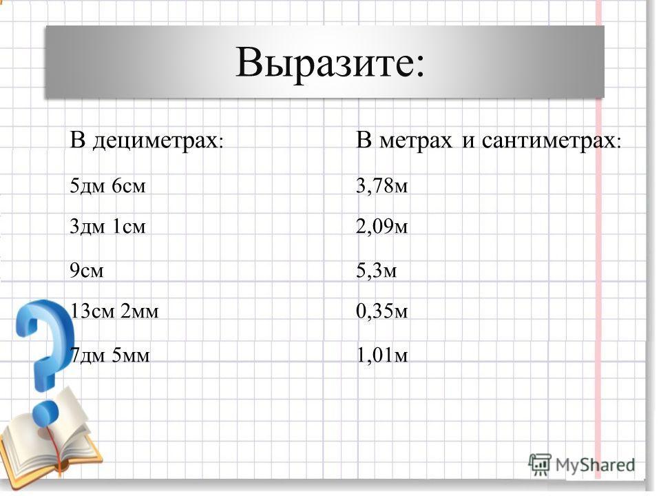 Выразите: В дециметрах : 5дм 6см 3дм 1см 9см 13см 2мм 7дм 5мм В метрах и сантиметрах : 3,78м 2,09м 5,3м 0,35м 1,01м