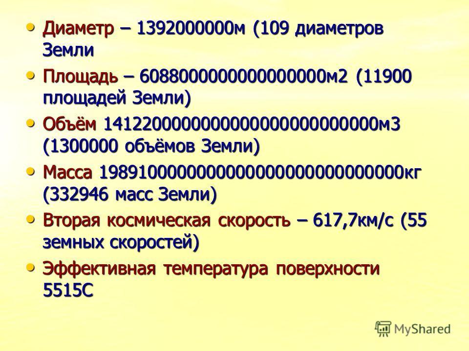 Диаметр – 1392000000м (109 диаметров Земли Диаметр – 1392000000м (109 диаметров Земли Площадь – 6088000000000000000м2 (11900 площадей Земли) Площадь – 6088000000000000000м2 (11900 площадей Земли) Объём 1412200000000000000000000000м3 (1300000 объёмов