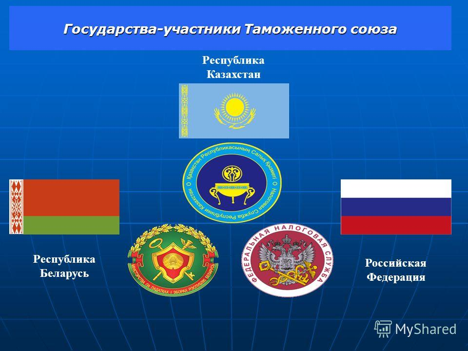 Государства-участники Таможенного союза Республика Беларусь Российская Федерация Республика Казахстан