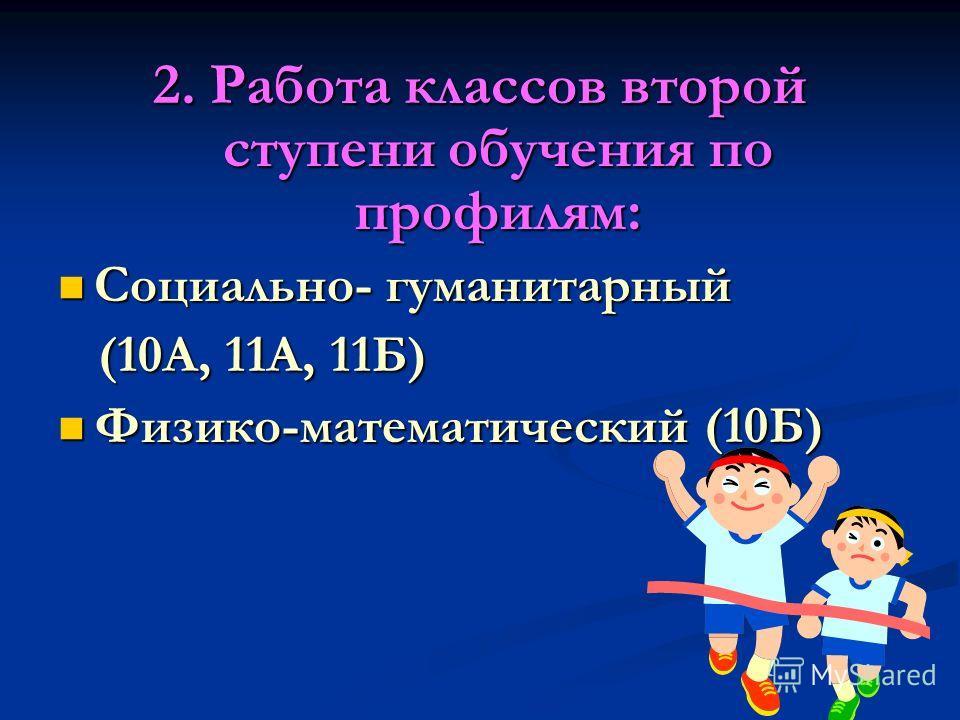 2. Работа классов второй ступени обучения по профилям: Социально- гуманитарный Социально- гуманитарный (10А, 11А, 11Б) (10А, 11А, 11Б) Физико-математический (10Б) Физико-математический (10Б)