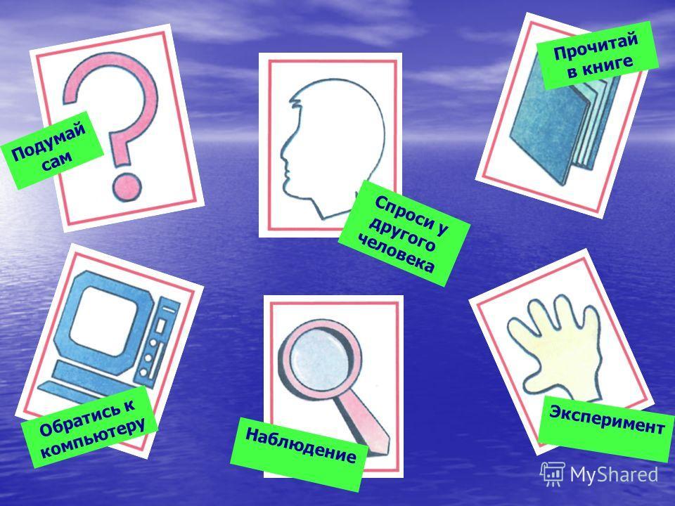 Подумай сам Спроси у другого человека Прочитай в книге Обратись к компьютеру Наблюдение Эксперимент