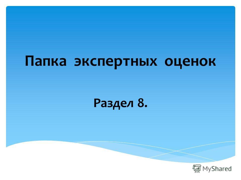Папка экспертных оценок Раздел 8.