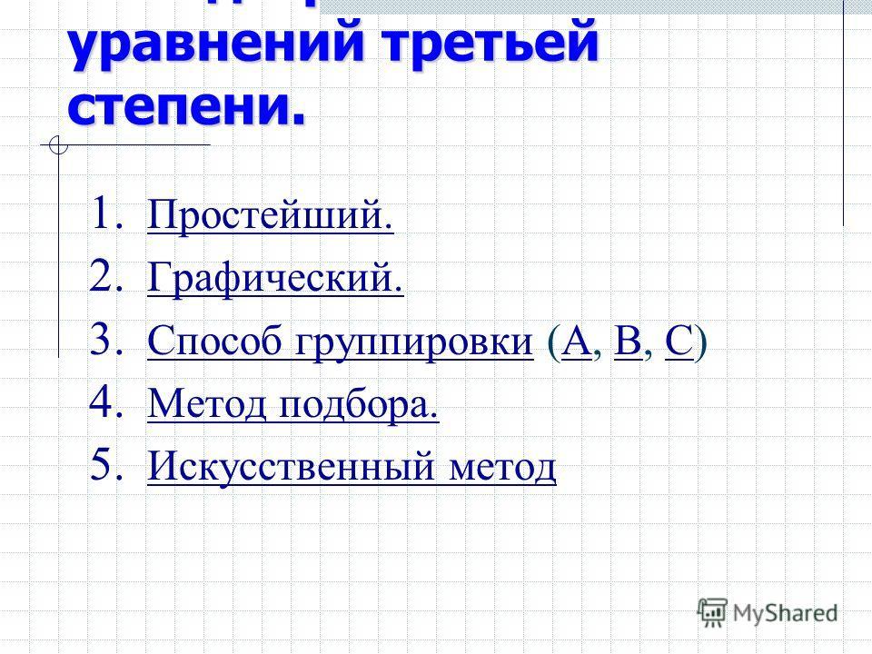 Методы решения уравнений третьей степени. 1. Простейший. Простейший. 2. Графический. Графический. 3. Способ группировки (А, В, С) Способ группировкиАВС 4. Метод подбора. Метод подбора. 5. Искусственный метод Искусственный метод