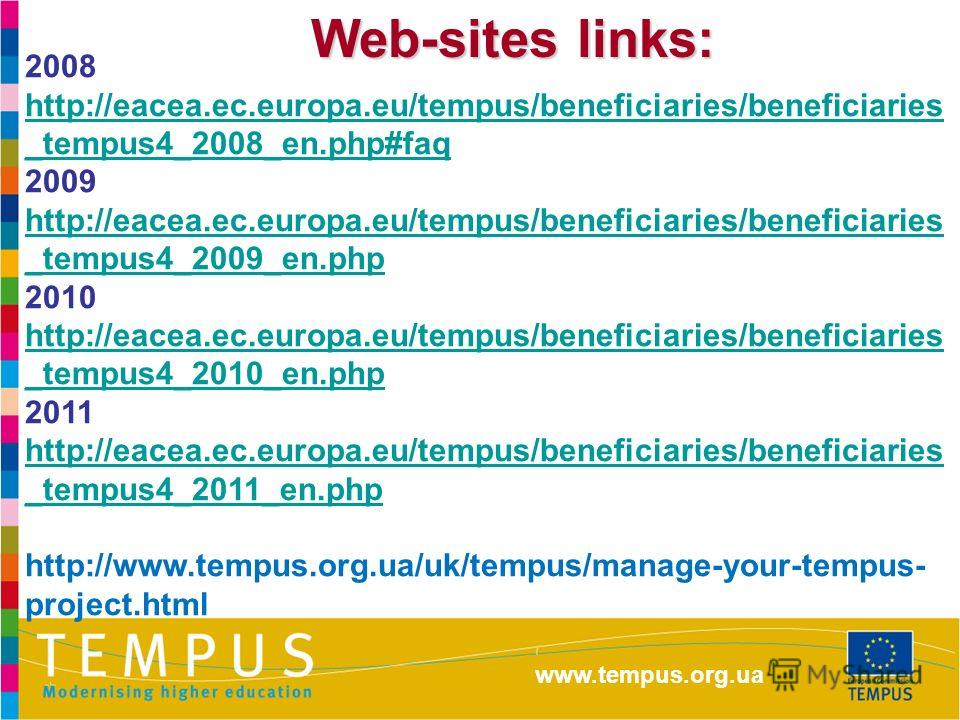 Web-sites links: 2008 http://eacea.ec.europa.eu/tempus/beneficiaries/beneficiaries _tempus4_2008_en.php#faq http://eacea.ec.europa.eu/tempus/beneficiaries/beneficiaries _tempus4_2008_en.php#faq 2009 http://eacea.ec.europa.eu/tempus/beneficiaries/bene