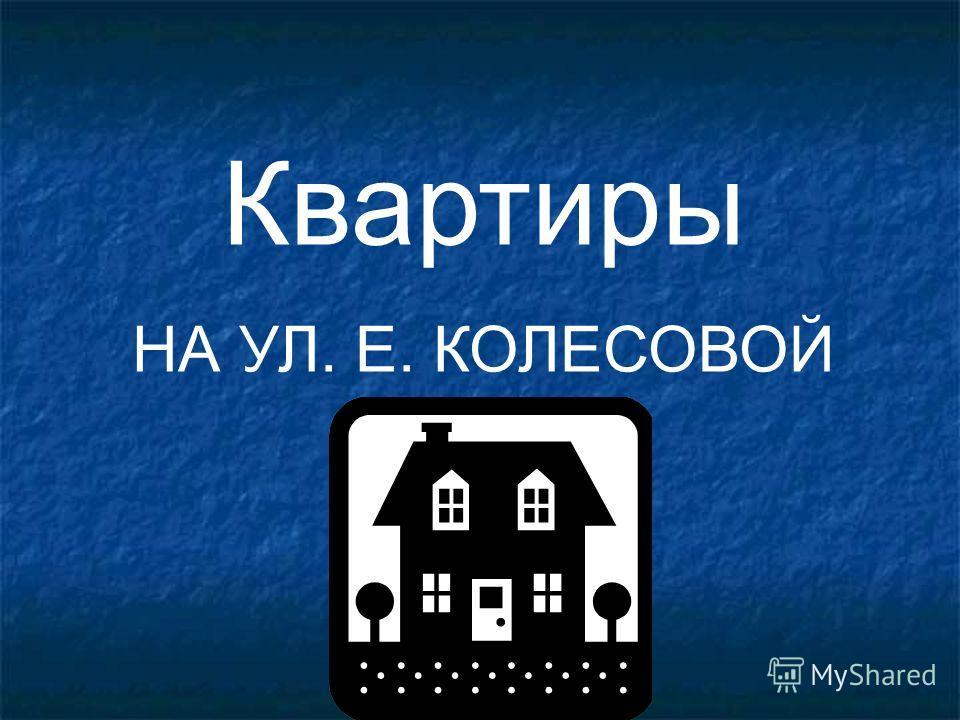 Квартиры НА УЛ. Е. КОЛЕСОВОЙ
