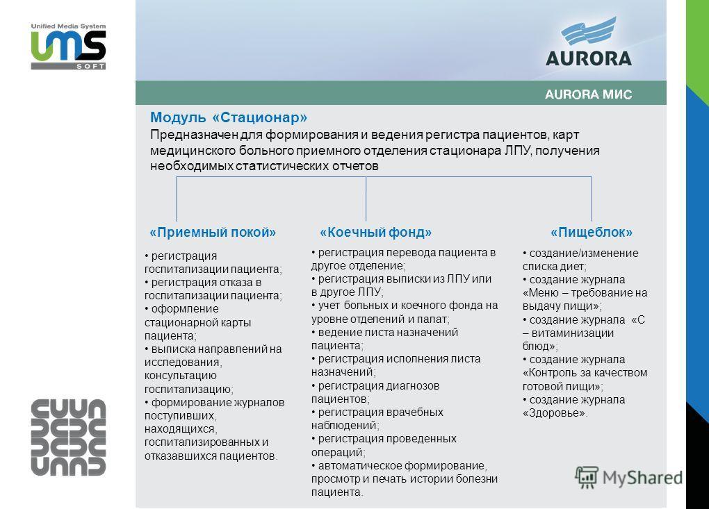 Модуль «Стационар» Предназначен для формирования и ведения регистра пациентов, карт медицинского больного приемного отделения стационара ЛПУ, получения необходимых статистических отчетов «Приемный покой»«Коечный фонд»«Пищеблок» регистрация госпитализ