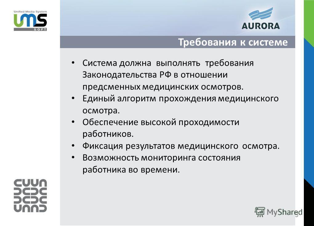 Требования к системе Система должна выполнять требования Законодательства РФ в отношении предсменных медицинских осмотров. Единый алгоритм прохождения медицинского осмотра. Обеспечение высокой проходимости работников. Фиксация результатов медицинског