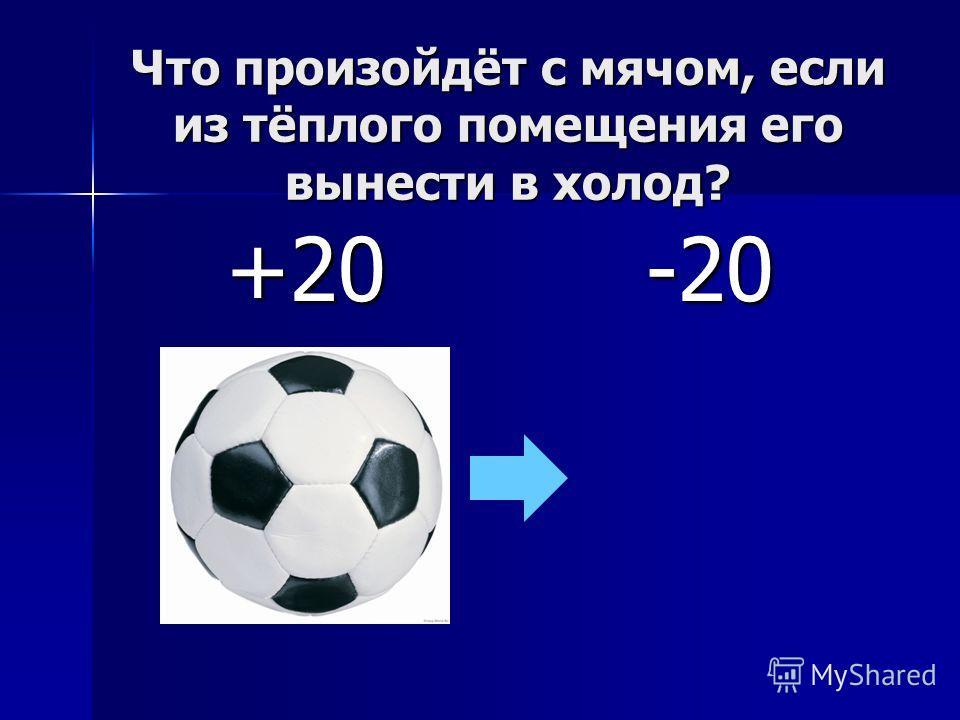 Что произойдёт с мячом, если из тёплого помещения его вынести в холод? +20-20