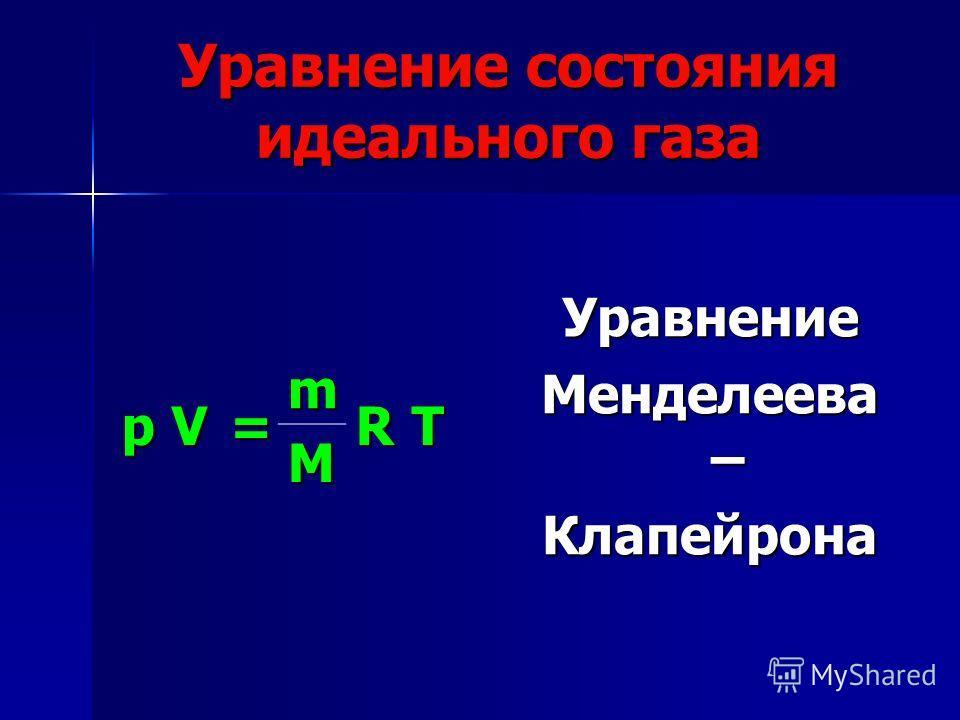 Уравнение Менделеева – Клапейрона Уравнение состояния идеального газа pV= m RT M