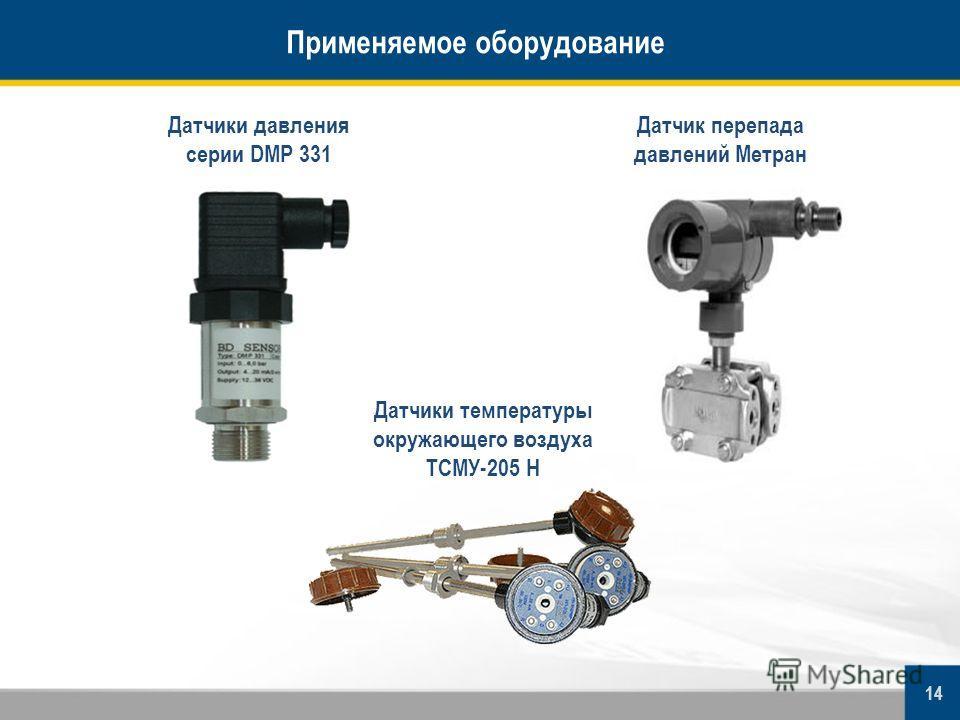 Применяемое оборудование Датчики давления серии DMP 331 Датчик перепада давлений Метран 14 Датчики температуры окружающего воздуха ТСМУ-205 Н