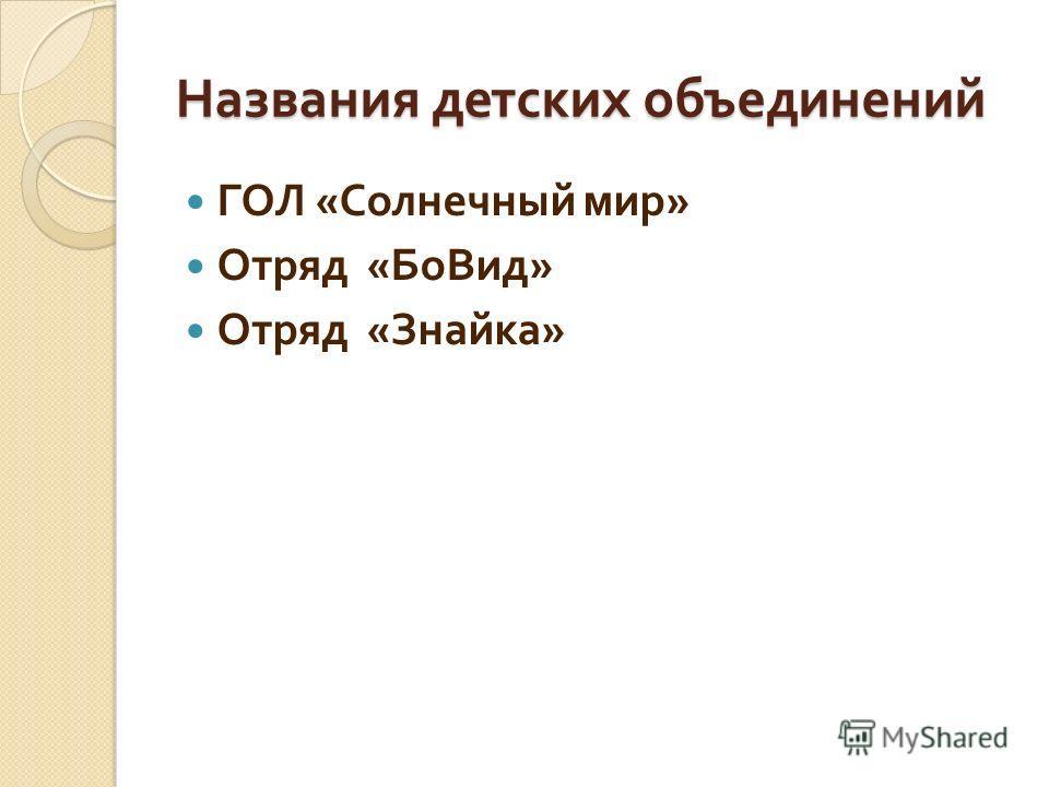 Названия детских объединений ГОЛ « Солнечный мир » Отряд « БоВид » Отряд « Знайка »