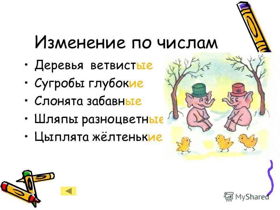 Изменение по числам Деревья ветвистые Сугробы глубокие Слонята забавные Шляпы разноцветные Цыплята жёлтенькие