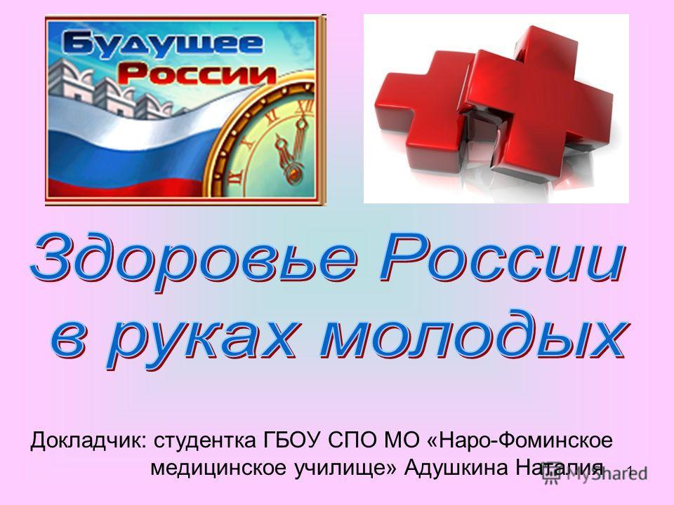 1 Докладчик: студентка ГБОУ СПО МО «Наро-Фоминское медицинское училище» Адушкина Наталия