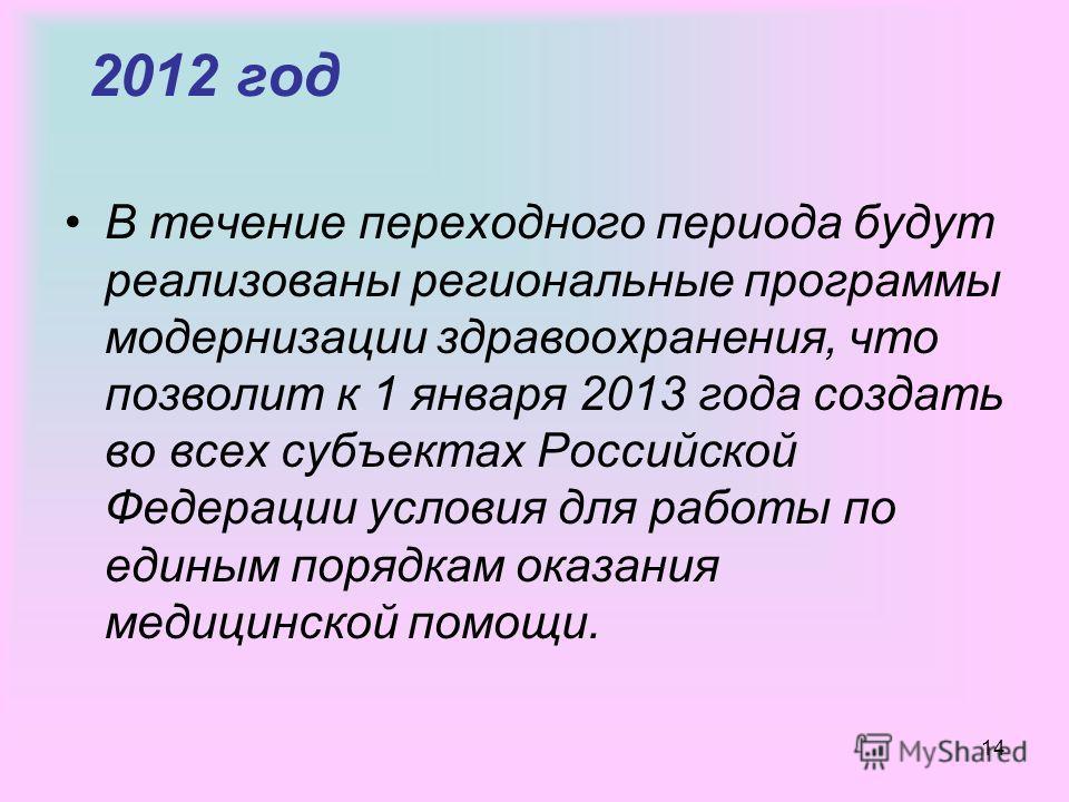 14 2012 год В течение переходного периода будут реализованы региональные программы модернизации здравоохранения, что позволит к 1 января 2013 года создать во всех субъектах Российской Федерации условия для работы по единым порядкам оказания медицинск
