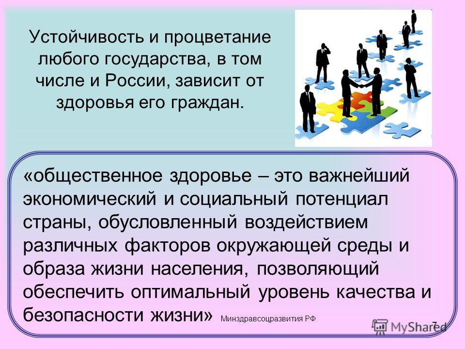 7 Устойчивость и процветание любого государства, в том числе и России, зависит от здоровья его граждан. «общественное здоровье – это важнейший экономический и социальный потенциал страны, обусловленный воздействием различных факторов окружающей среды