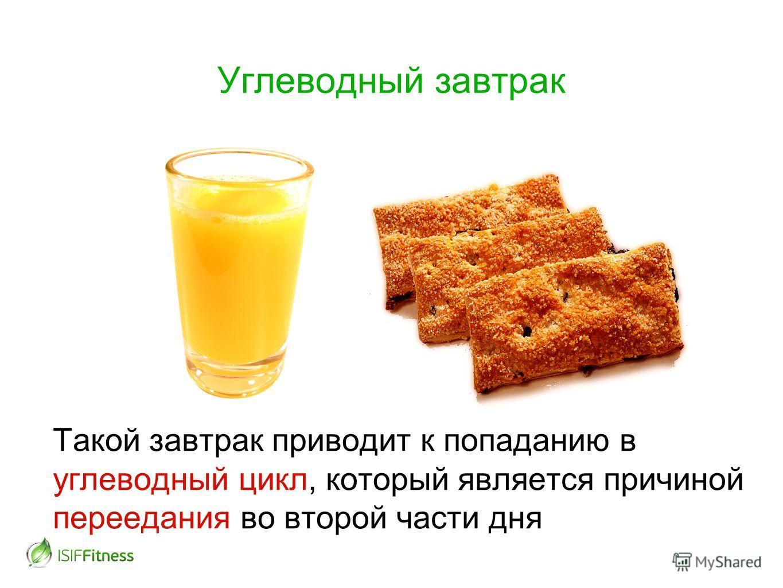 Такой завтрак приводит к попаданию в углеводный цикл, который является причиной переедания во второй части дня Углеводный завтрак