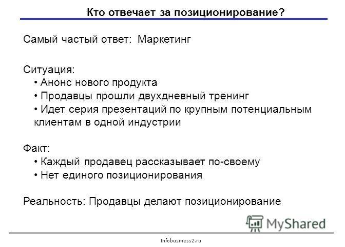 Infobusiness2.ru Ситуация: Анонс нового продукта Продавцы прошли двухдневный тренинг Идет серия презентаций по крупным потенциальным клиентам в одной индустрии Факт: Каждый продавец рассказывает по-своему Нет единого позиционирования Реальность: Прод