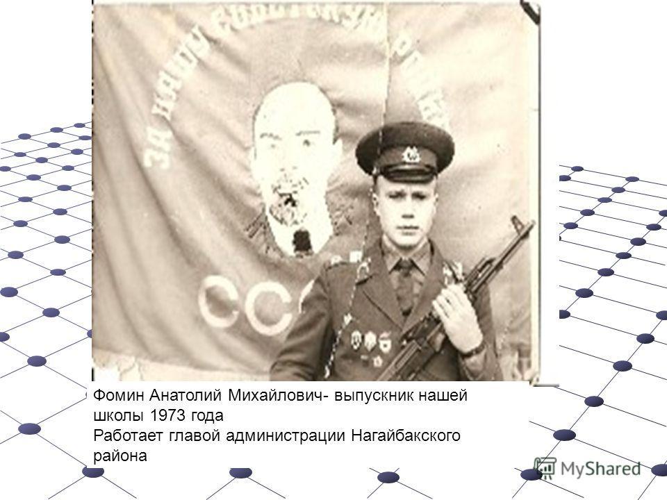 Фомин Анатолий Михайлович- выпускник нашей школы 1973 года Работает главой администрации Нагайбакского района