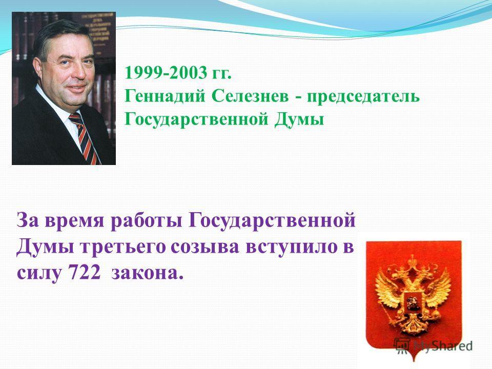 1999-2003 гг. Геннадий Селезнев - председатель Государственной Думы За время работы Государственной Думы третьего созыва вступило в силу 722 закона.