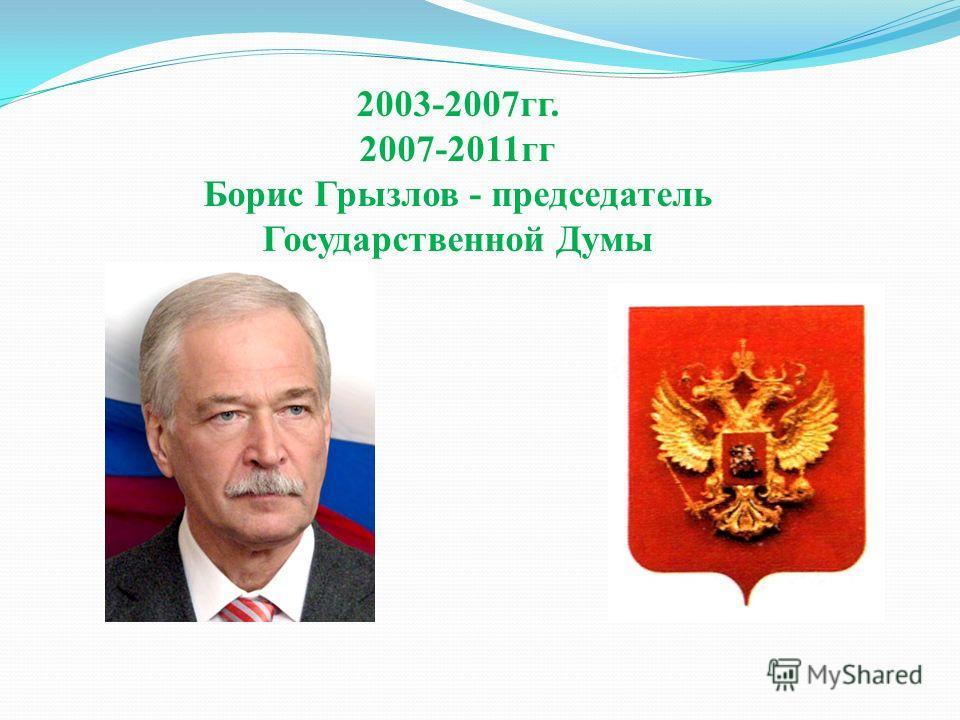 2003-2007гг. 2007-2011гг Борис Грызлов - председатель Государственной Думы