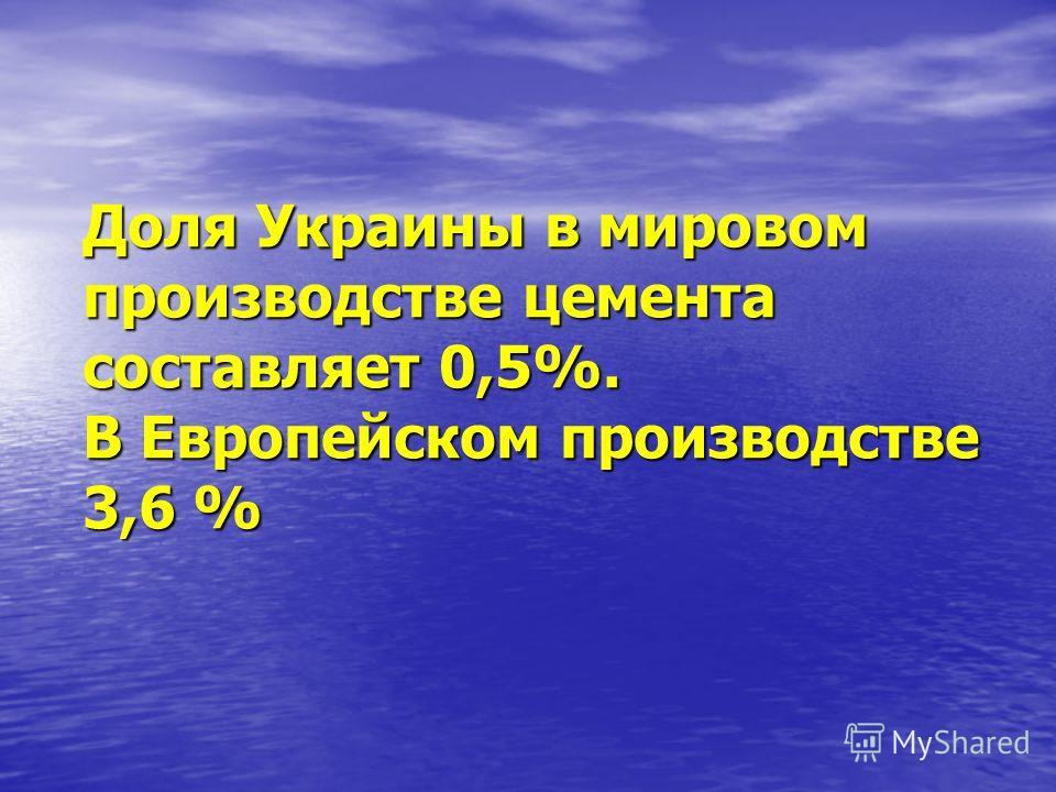 Доля Украины в мировом производстве цемента составляет 0,5%. В Европейском производстве 3,6 %