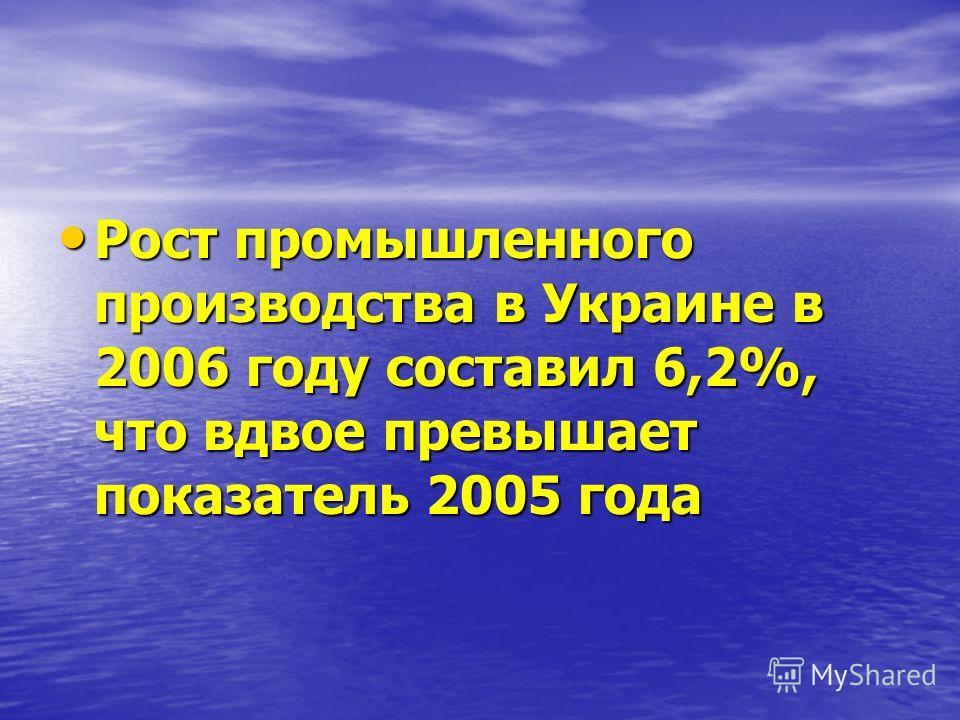 Рост промышленного производства в Украине в 2006 году составил 6,2%, что вдвое превышает показатель 2005 года Рост промышленного производства в Украине в 2006 году составил 6,2%, что вдвое превышает показатель 2005 года