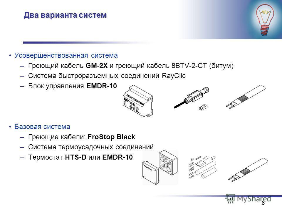 6 Два варианта систем Усовершенствованная система –Греющий кабель GM-2X и греющий кабель 8BTV-2-CT (битум) –Система быстроразъемных соединений RayClic –Блок управления EMDR-10 Базовая система –Греющие кабели: FroStop Black –Система термоусадочных сое