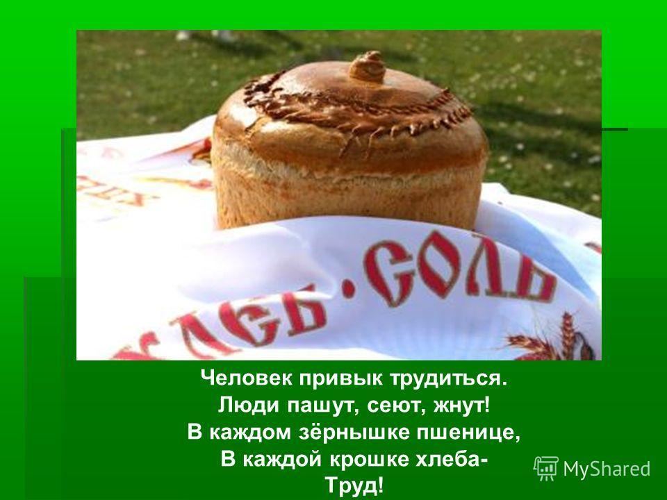 Человек привык трудиться. Люди пашут, сеют, жнут! В каждом зёрнышке пшенице, В каждой крошке хлеба- Труд!