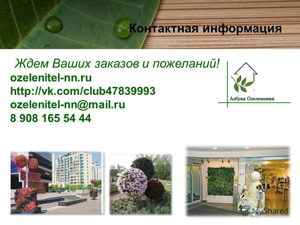 Контактная информация Ждем Ваших заказов и пожеланий! ozelenitel-nn.ru http://vk.com/club47839993 ozelenitel-nn@mail.ru 8 908 165 54 44