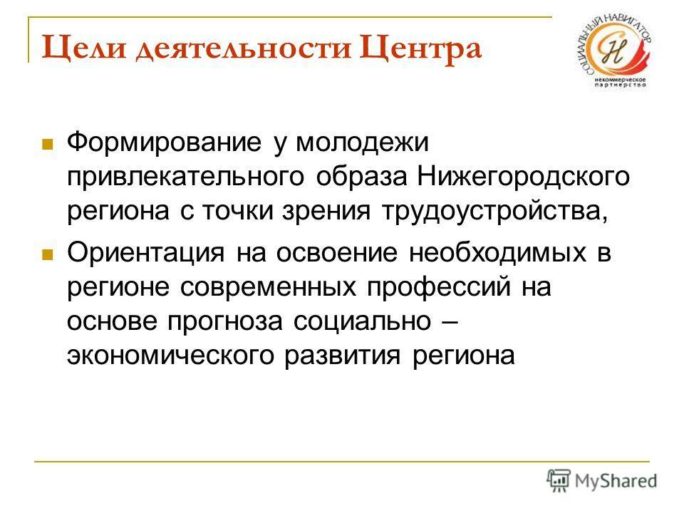 Цели деятельности Центра Формирование у молодежи привлекательного образа Нижегородского региона с точки зрения трудоустройства, Ориентация на освоение необходимых в регионе современных профессий на основе прогноза социально – экономического развития