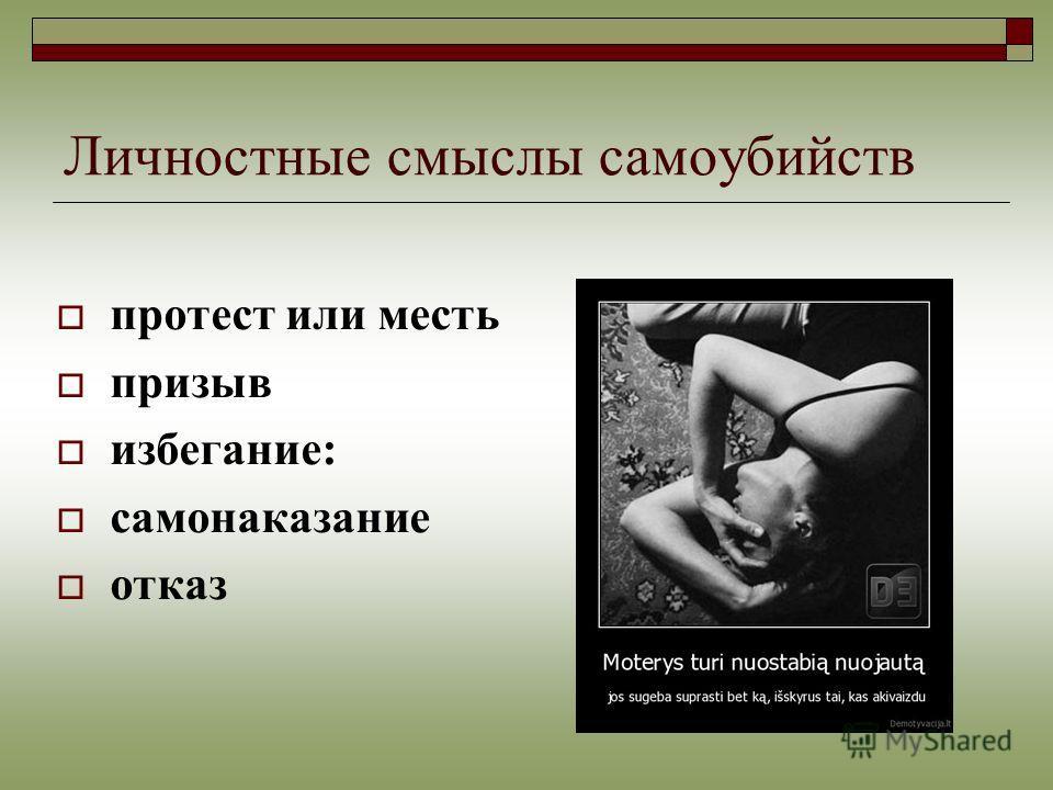 Личностные смыслы самоубийств протест или месть призыв избегание: самонаказание отказ