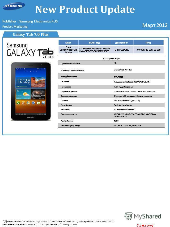 Samsung confidential 3 Galaxy Tab 7.0 Plus ЦветBOM код Доступно с*РРЦ Dark Silver/White/Pure White GT-P6200MAASER/GT-P6200 UWASER/GT-P6200ZWASER В ПРОДАЖЕ19 990/ 19 990/ 20 990 Изображение устройства СПЕЦИФИКАЦИИ Проектное название P2 Маркетинговое н