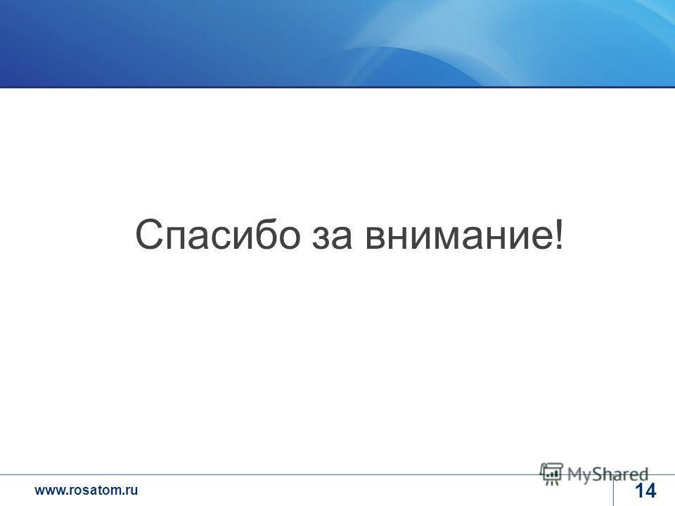 www.rosatom.ru 14 Спасибо за внимание!