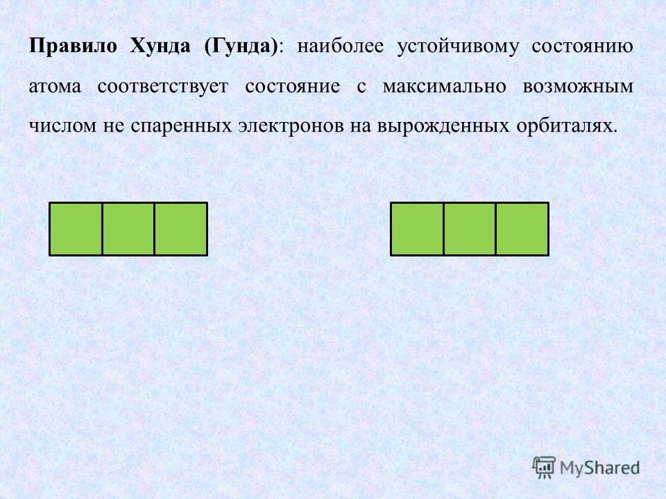 Правило Хунда (Гунда): наиболее устойчивому состоянию атома соответствует состояние с максимально возможным числом не спаренных электронов на вырожденных орбиталях.