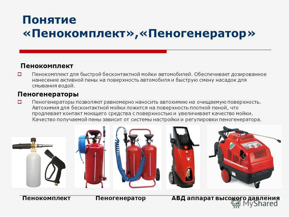 Понятие «Пенокомплект»,«Пеногенератор» Пенокомплект Пенокомплект для быстрой бесконтактной мойки автомобилей. Обеспечивает дозированное нанесение активной пены на поверхность автомобиля и быструю смену насадок для смывания водой. Пеногенераторы Пеног