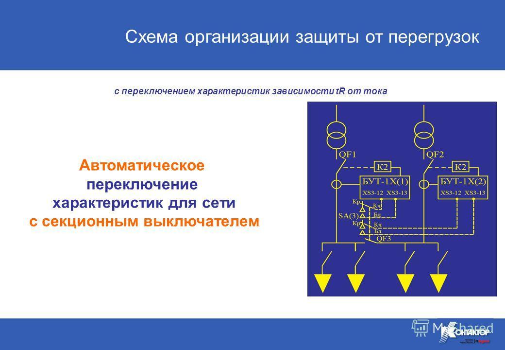 Автоматическое переключение характеристик для сети с секционным выключателем с переключением характеристик зависимости tR от тока Схема организации защиты от перегрузок