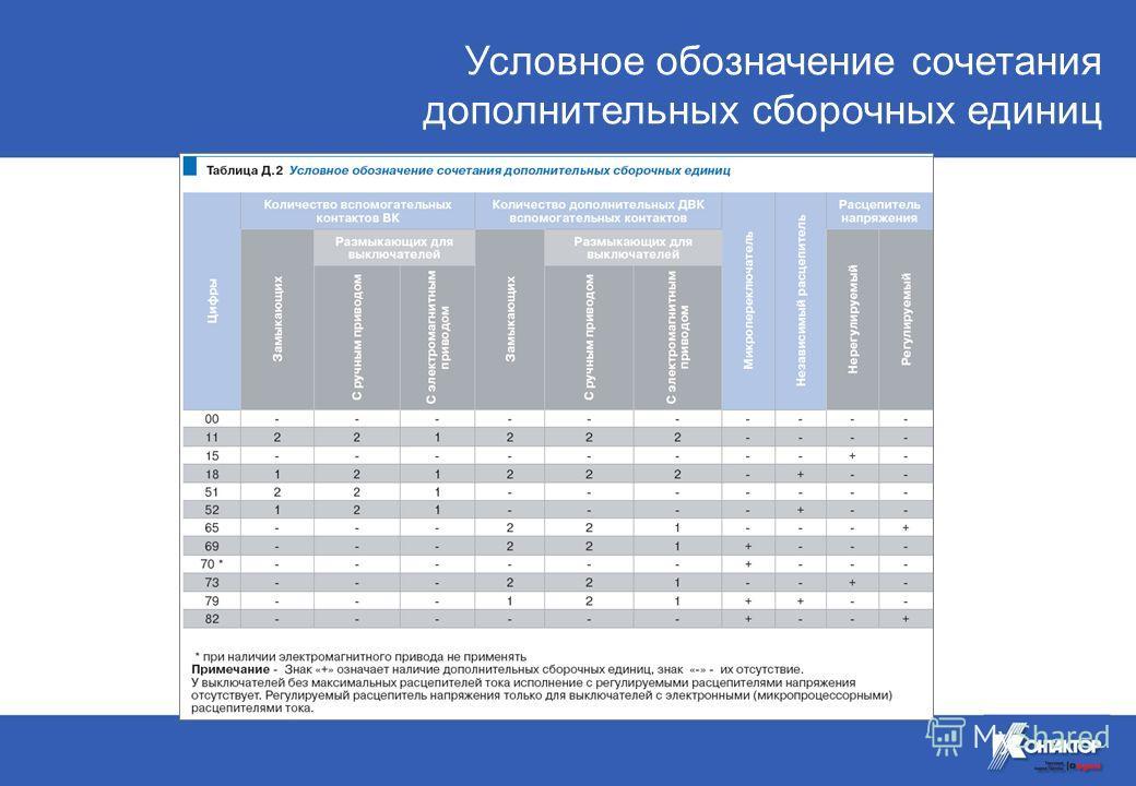 Условное обозначение сочетания дополнительных сборочных единиц