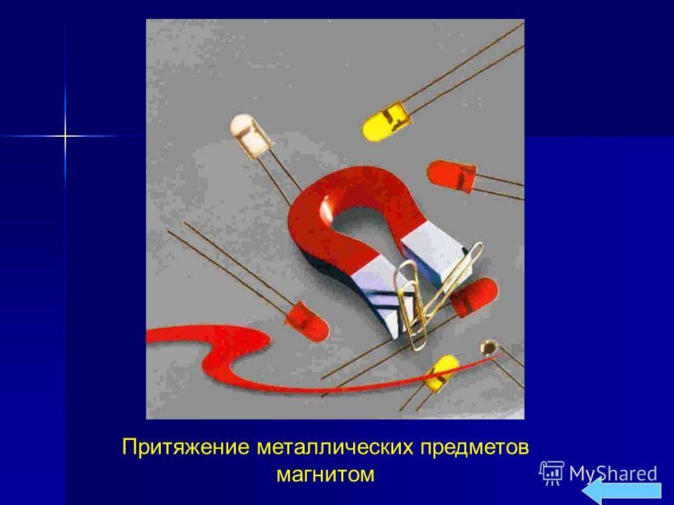 Притяжение металлических предметов магнитом