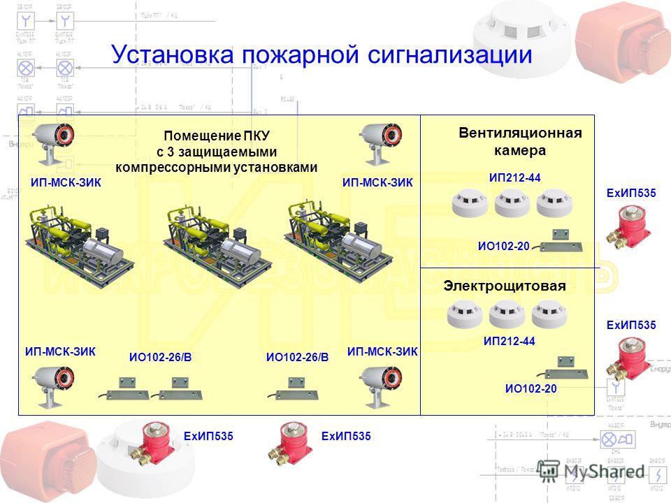 Установка пожарной сигнализации ИП-МСК-ЗИК ИО102-26/В ЕхИП535 ИП212-44 Помещение ПКУ с 3 защищаемыми компрессорными установками Вентиляционная камера Электрощитовая ИО102-20 ЕхИП535