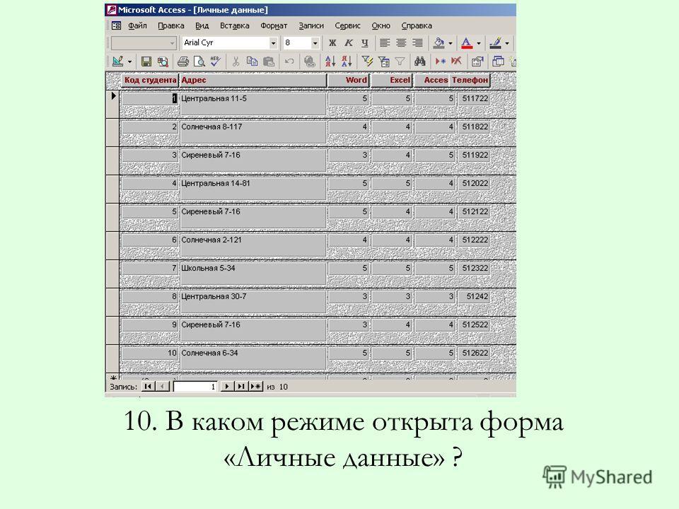 10. В каком режиме открыта форма «Личные данные» ?
