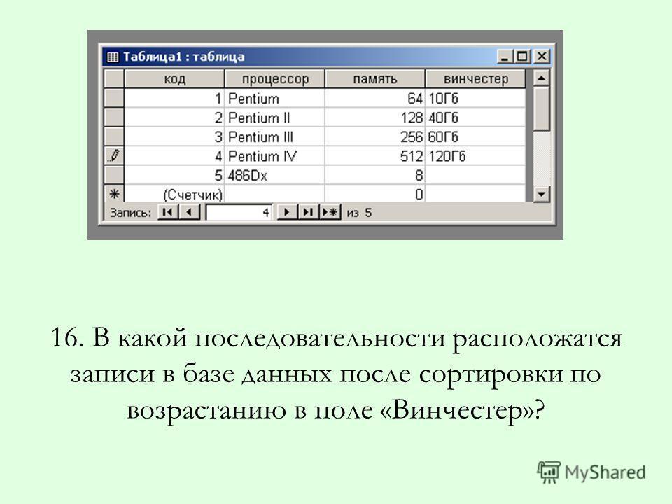 16. В какой последовательности расположатся записи в базе данных после сортировки по возрастанию в поле «Винчестер»?