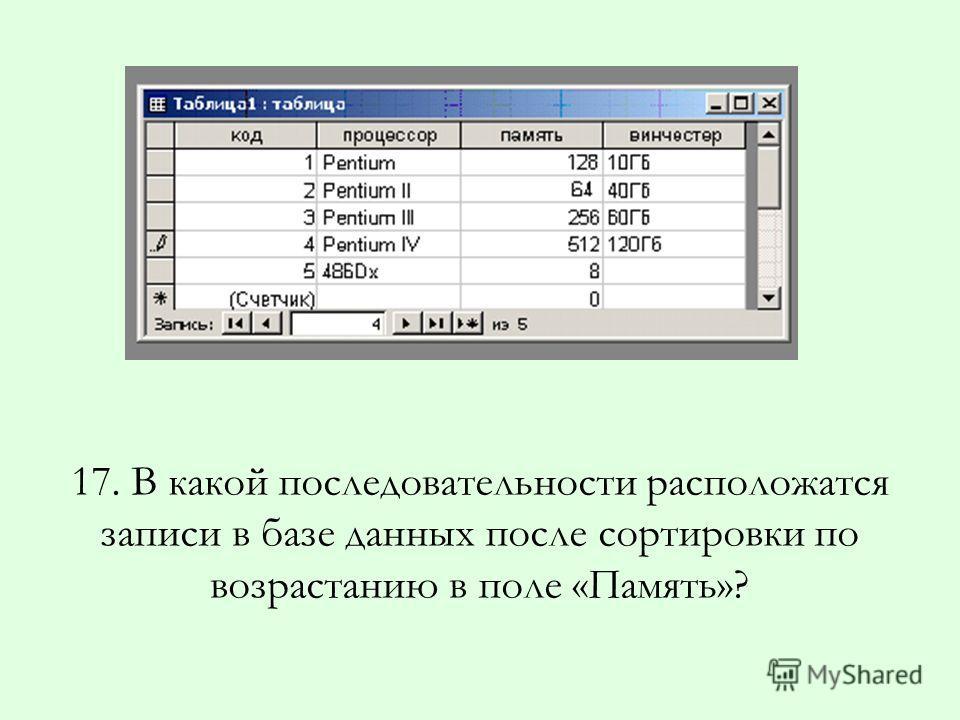 17. В какой последовательности расположатся записи в базе данных после сортировки по возрастанию в поле «Память»?