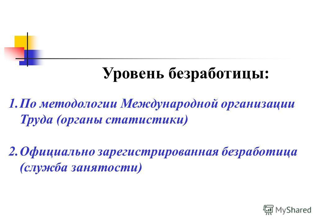 Уровень безработицы: 1.По методологии Международной организации Труда (органы статистики) 2.Официально зарегистрированная безработица (служба занятости)