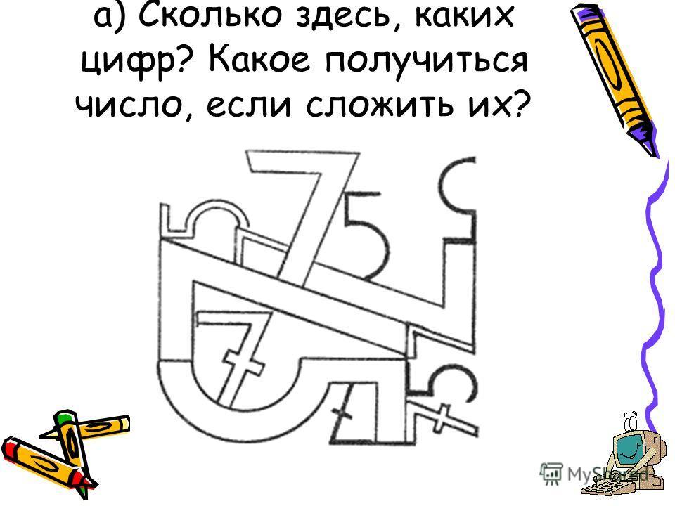 а) Сколько здесь, каких цифр? Какое получиться число, если сложить их?