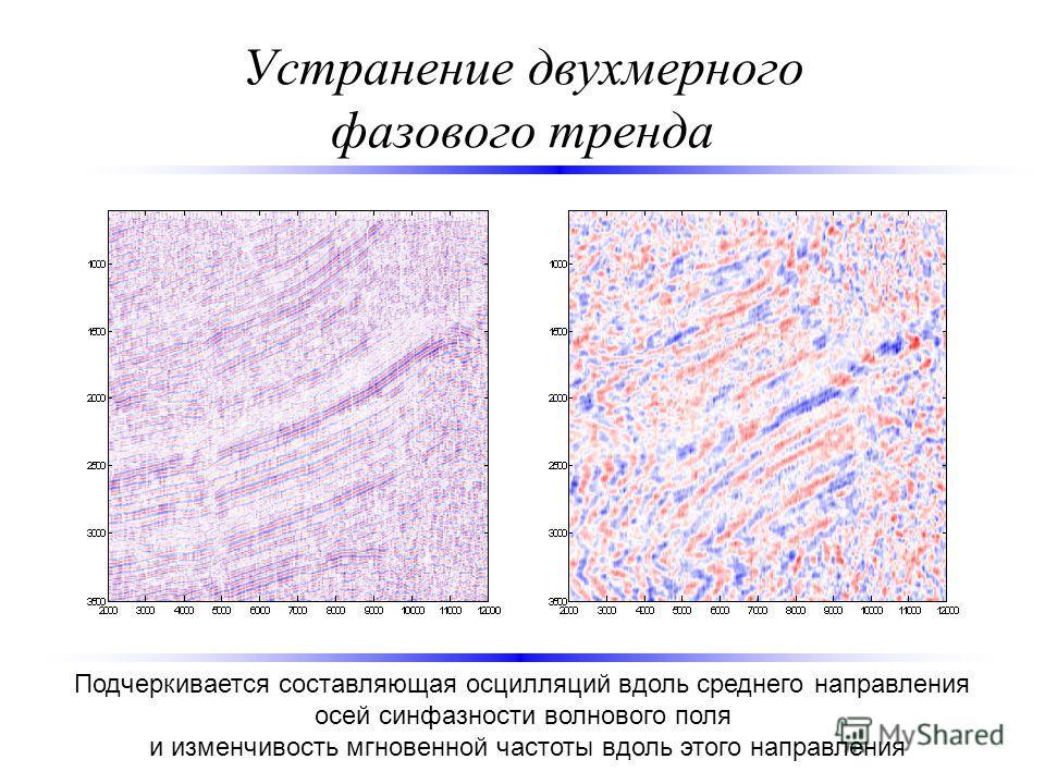 Устранение двухмерного фазового тренда Подчеркивается составляющая осцилляций вдоль среднего направления осей синфазности волнового поля и изменчивость мгновенной частоты вдоль этого направления