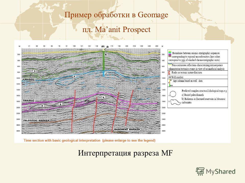 Пример обработки в Geomage пл. Maanit Prospect Интерпретация разреза MF