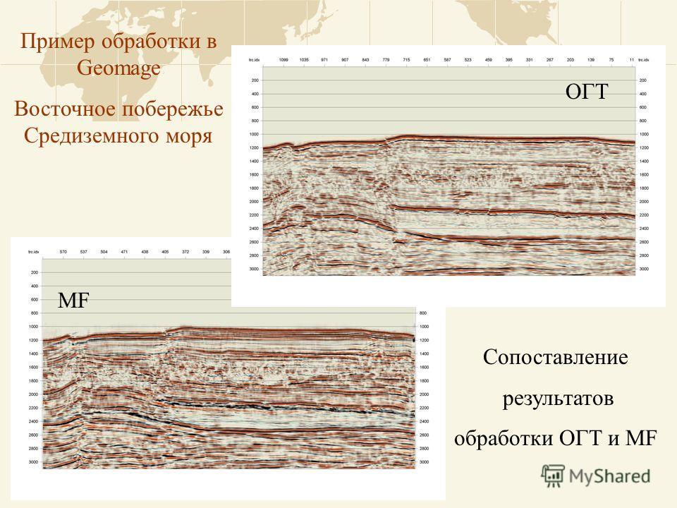 Пример обработки в Geomage Восточное побережье Средиземного моря Сопоставление результатов обработки ОГТ и MF MF ОГТ