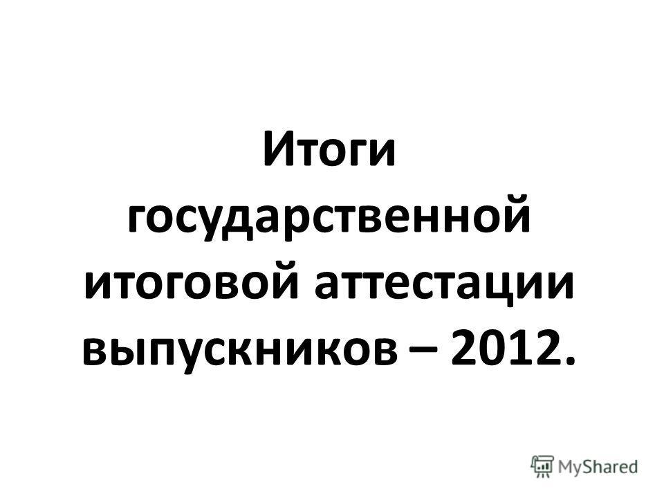 Итоги государственной итоговой аттестации выпускников – 2012.